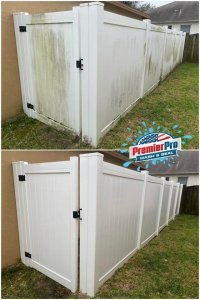 vinyl fence cleaning before and after